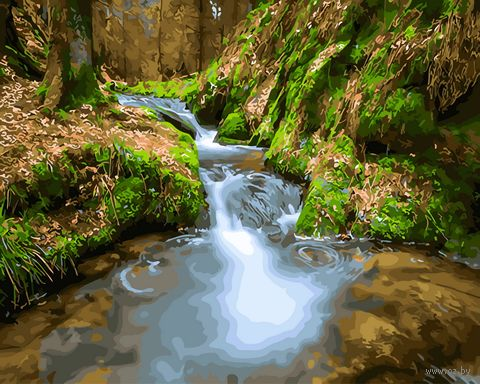 "Картина по номерам на деревянном холсте ""Ручей в лесу"" (400х500 мм) — фото, картинка"