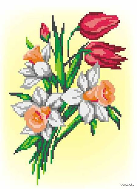 """Вышивка крестом """"Букет нарциссов и тюльпанов"""" (220х160 мм) — фото, картинка"""