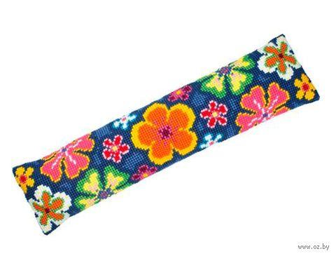 """Вышивка крестом """"Подушка. Цветочный орнамент в ярких тонах"""" (800х200 мм) — фото, картинка"""