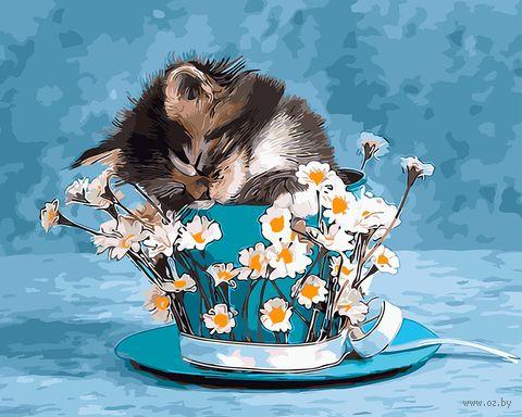 """Картина по номерам """"Котик и ромашки"""" (400х500 мм) — фото, картинка"""