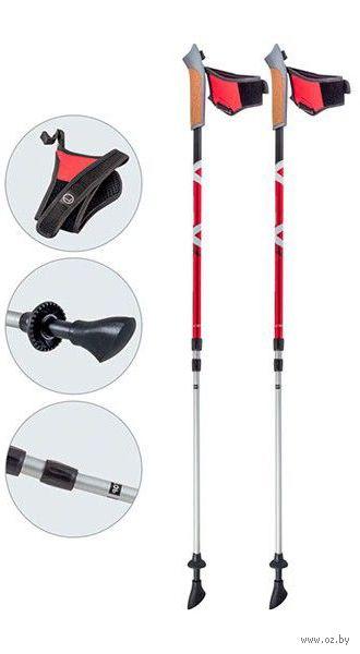 Палки для скандинавской ходьбы трёхсекционные AQD-B021 (65-135 см; красные) — фото, картинка