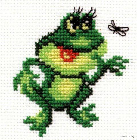 "Вышивка крестом ""Лягушонок"" (70х70 мм) — фото, картинка"