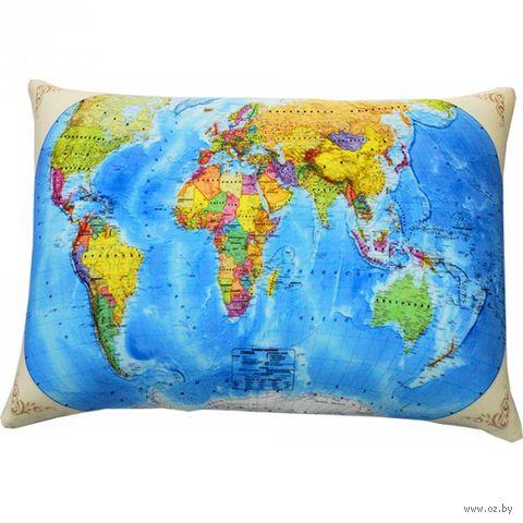 "Подушка ""Карта мира"" (35х26 см; голубая; арт. Ап16сен01) — фото, картинка"
