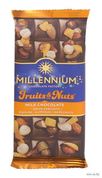 """Шоколад молочный """"Millennium. С миндалем, цельными лесными орехами, курагой и изюмом"""" (80 г) — фото, картинка"""