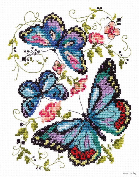 """Вышивка крестом """"Синие бабочки"""""""