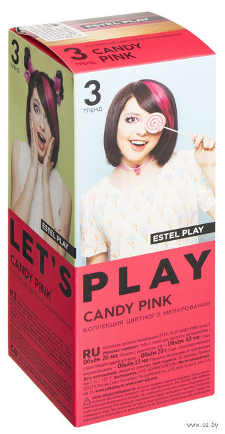 "Краска для волос ""Estel Play"" тон: 3, candy pink — фото, картинка"