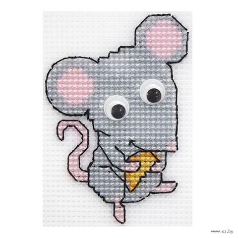 """Вышивка крестом """"Мышь с сыром"""" (70х90 мм) — фото, картинка"""