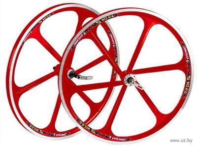"""Комплект велосипедных колёс """"TAFD/CASET-6000"""" (26""""; красный) — фото, картинка"""