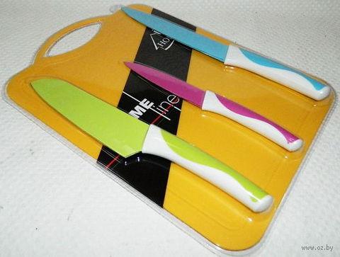 Набор ножей металлических с антибактериальным покрытием с пластмассовыми ручками  + доска разделочная пластмассовая (арт. MS05-B129)