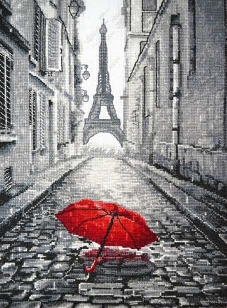 """Вышивка крестом """"В Париже дождь"""" (200x290 мм) — фото, картинка"""