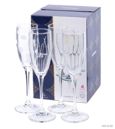 "Бокал для шампанского стеклянный ""Lounge Сlub"" (4 шт.; 170 мл) — фото, картинка"