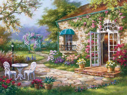 "Алмазная вышивка-мозаика ""Летний дворик"" (500х700 мм) — фото, картинка"