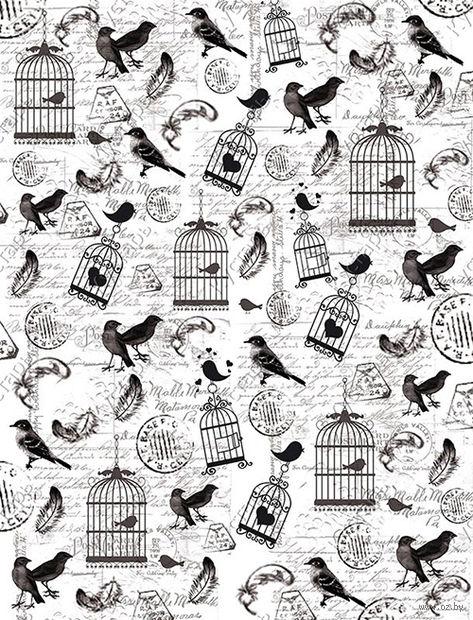 """Калька с принтом """"Птички и клетки"""" (А4) — фото, картинка"""