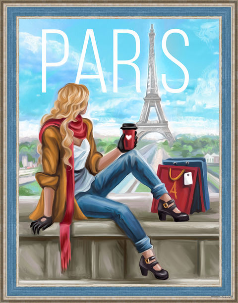"Алмазная вышивка-мозаика ""Утро в Париже"" (300х400 мм) — фото, картинка"
