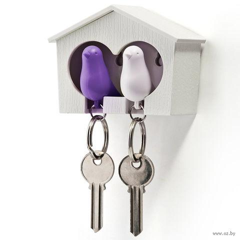 """Брелок-свисток и держатель двойной для ключей """"Sparrow"""" (белый/фиолетовый)"""
