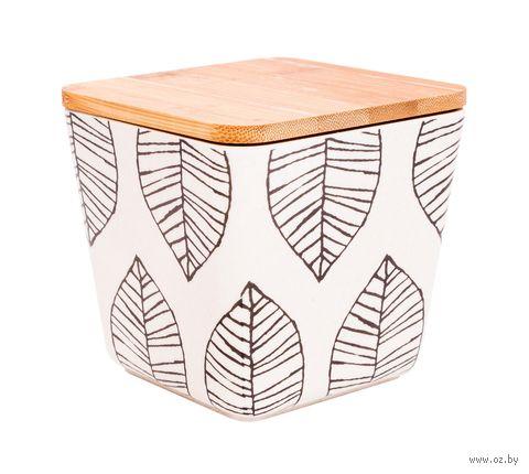 "Банка для сыпучих продуктов бамбуковая ""Листья"" (110х110х120 мм) — фото, картинка"
