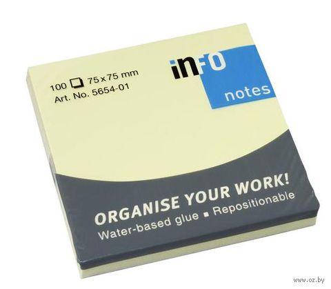 """Бумага для записей на клейкой основе """"Info notes"""" (желтая; 75 x 75мм; 100 листов)"""