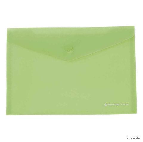 Папка-конверт на кнопке (А5; зеленая)