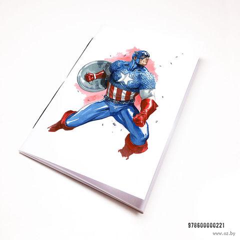 "Блокнот белый ""Капитан Америка"" А7 (арт. 221)"