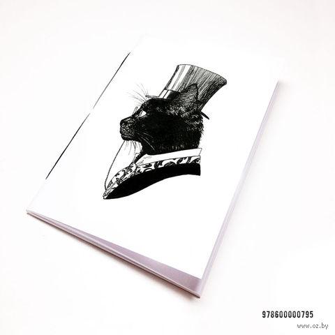 """Блокнот белый """"Кот джентльмен"""" А7 (795)"""