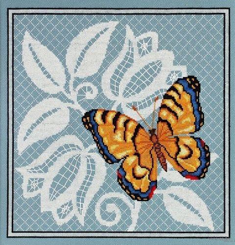 "Вышивка крестом ""Ажурная бабочка"" (270х270 мм; арт. 1124) — фото, картинка"