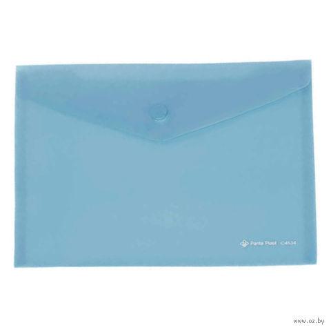 Папка-конверт на кнопке А5 (голубой)