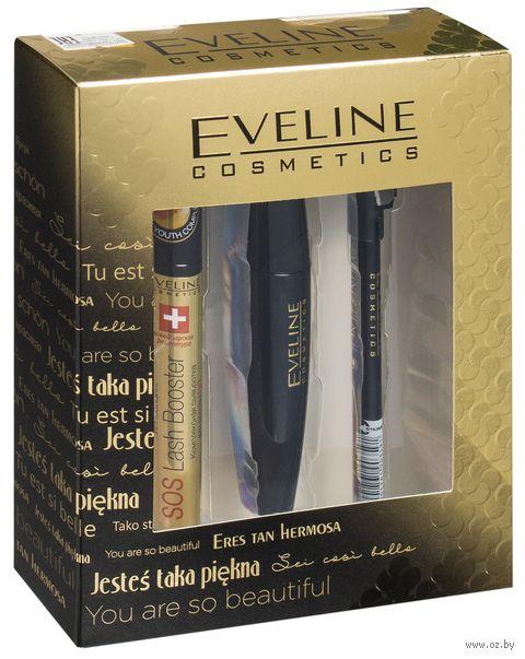 """Подарочный набор """"Eveline Cosmetics"""" (сыворотка, тушь, карандаш) — фото, картинка"""