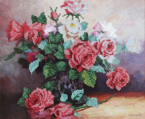 """Вышивка бисером """"Букет роз"""" (300х250 мм) — фото, картинка"""