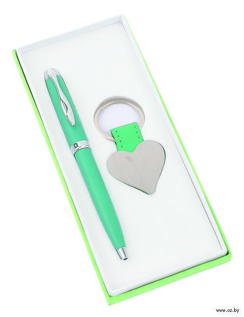 """Набор. Шариковая ручка, брелок """"Сердце"""" (зеленый)"""