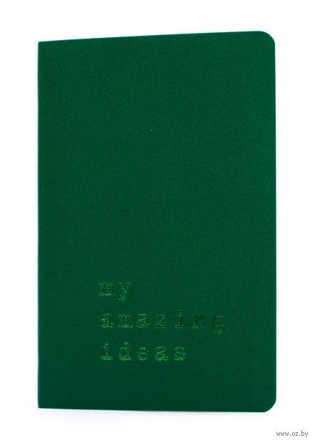 """Записная книжка Молескин """"Volant. My Amazing Ideas"""" нелинованная (карманная; мягкая темно-зеленая обложка)"""