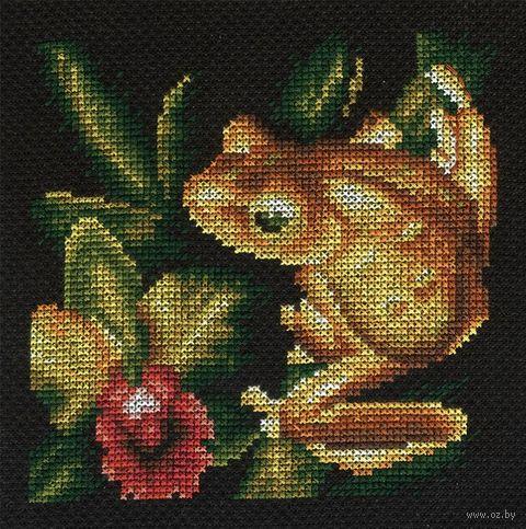 "Вышивка крестом ""Золотая лягушка"" (125x125 мм) — фото, картинка"