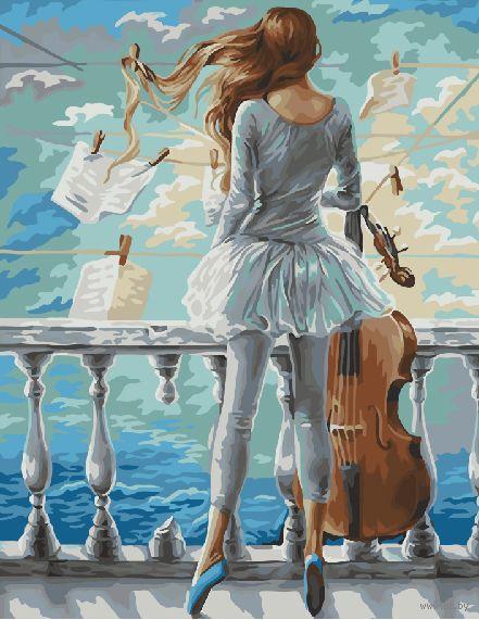 "Картина по номерам ""Море и виолончель"" (400х500 мм) — фото, картинка"