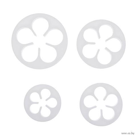 """Набор форм для вырезания теста пластмассовых """"Цветочки"""" (4 шт.) — фото, картинка"""
