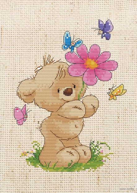 "Вышивка крестом ""Мишка с цветком"" (200х270 мм) — фото, картинка"