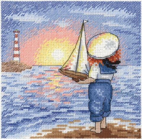 "Вышивка крестом ""Маленький капитан"" (150х150 мм) — фото, картинка"