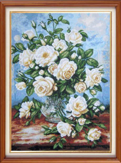 """Вышивка крестом """"Белые розы"""" (310х400 мм) — фото, картинка"""