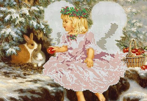"Вышивка бисером ""Ангел с яблоками"" (380х260 мм) — фото, картинка"