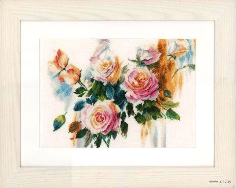 "Вышивка крестом ""Букет розовых роз"" (350х260 мм) — фото, картинка"