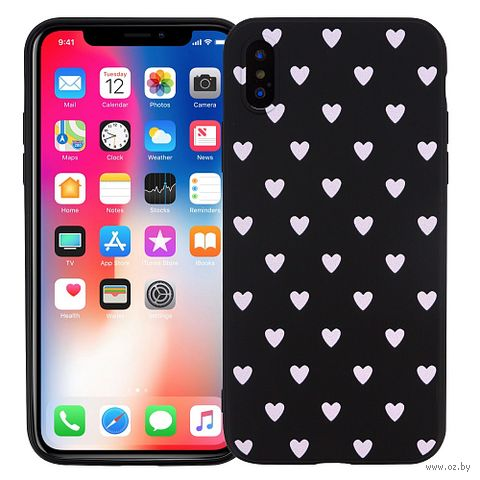 "Чехол для iPhone X/XS ""Hearts Black"" — фото, картинка"