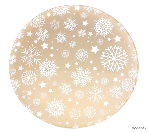 "Блюдо стеклянное ""Снежинки"" (300 мм) — фото, картинка"