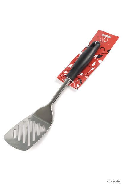 Лопатка кухонная металлическая с прорезями с пластмассовой ручкой (32 см)
