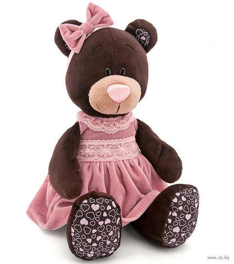 """Мягкая игрушка """"Медведь Milk в розовом бархатном платье"""" (25 см) — фото, картинка"""