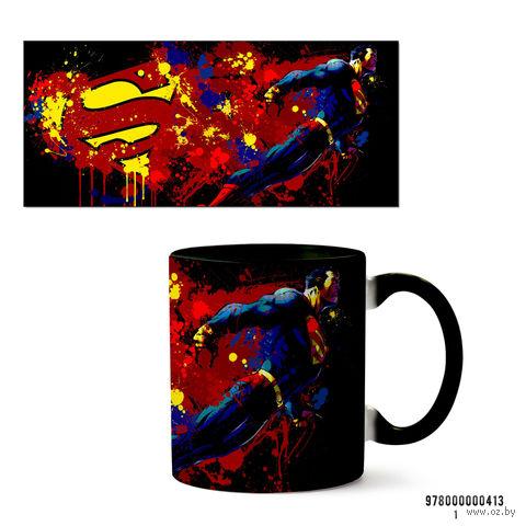 """Кружка """"Супермэн из вселенной DC"""" (черная; арт. 413) — фото, картинка"""