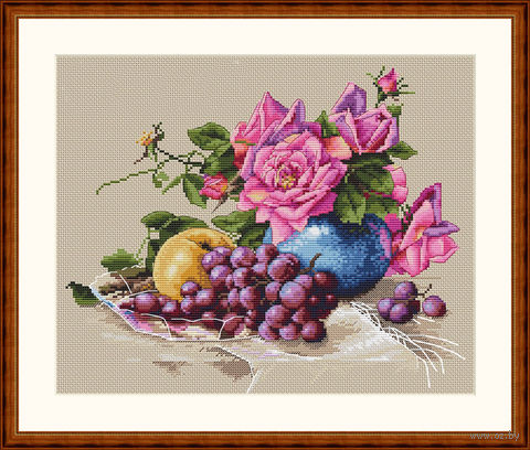 "Вышивка крестом ""Натюрморт с виноградом"" (230х270 мм) — фото, картинка"