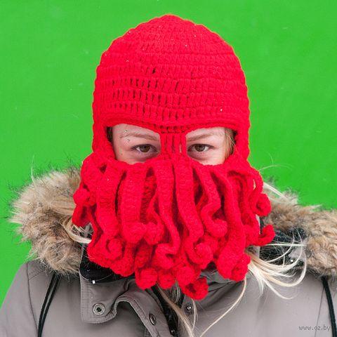 Шапка-маска с бородой (красная) — фото, картинка