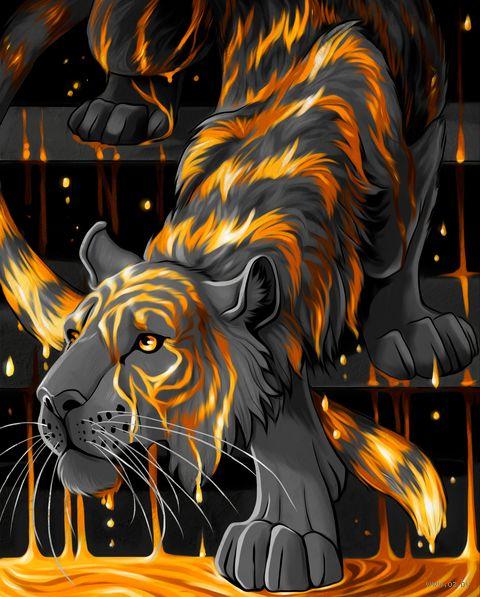 "Алмазная вышивка-мозаика ""Тигр в золоте"" (400х500 мм) — фото, картинка"