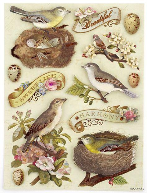 """Стикеры для скрапбукинга """"Флора и фауна. Птицы и листья"""""""