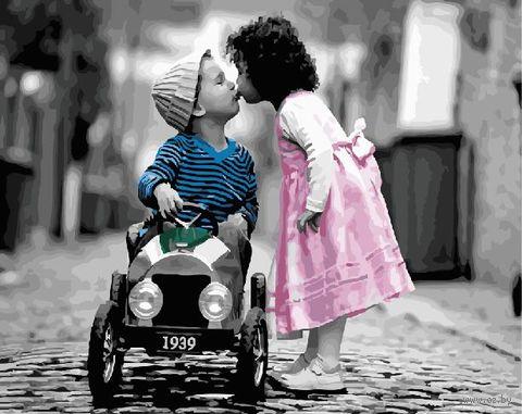 "Картина по номерам ""Первый поцелуй"" (400х500 мм) — фото, картинка"