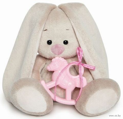 """Мягкая игрушка """"Зайка Ми с розовой лошадкой"""" (15 см) — фото, картинка"""