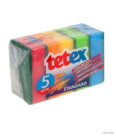 """Губка для мытья посуды """"Tetex"""" (5 шт.; 80х55х27 мм) — фото, картинка"""
